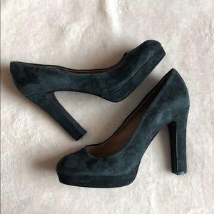 5/48 Saks Fifth Avenue Dark Gray Micro Suede Heels